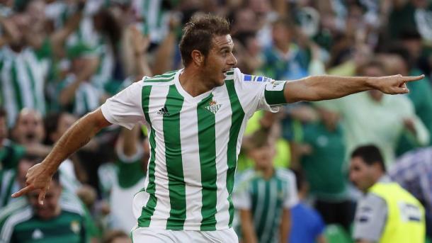 Joaquin en su doblete ante le Deportivo. Foto: LaLiga