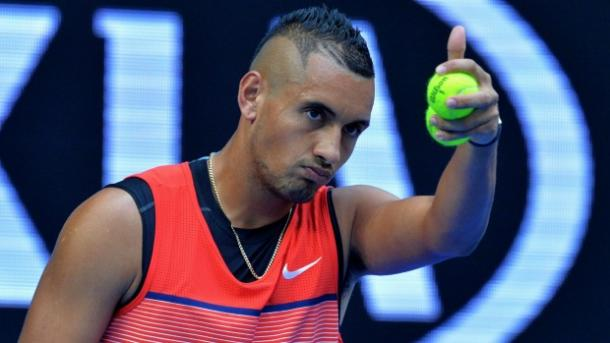 Kyrgios gives his approve during his second round match (Photo: Joe Armao)