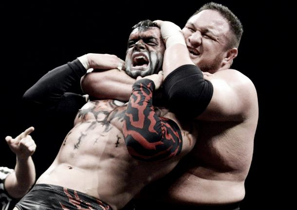 Samoa Joe chokes out Finn Balor turning heel in the process (image: voicesofwrestling.com