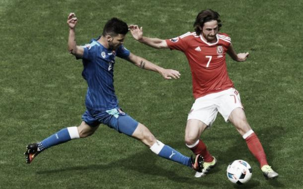 Joe Allen was the Man of the Match for Wales against Slovakia (image: empireofthekop.com)