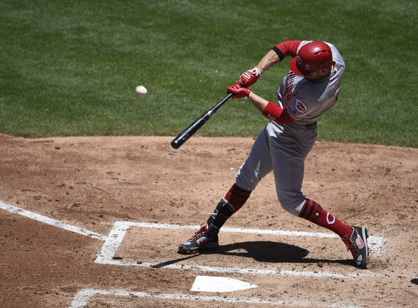 Joey Votto #19 of the Cincinnati Reds hits a solo home run against the San Diego Padres at PETCO Park. |June 13, 2017 - Source: Denis Poroy/Getty Images North America|