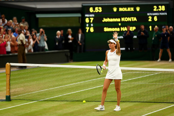 Johanna Konta applauds the supportive home crowd after her magnificent win | Photo: Michael Steele/Getty Images Europe