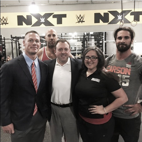 John Cena, Anthony Cesaro and Seth Rollins all pictured at the rehabilitation centre in Orlando (image: starpulse.com)