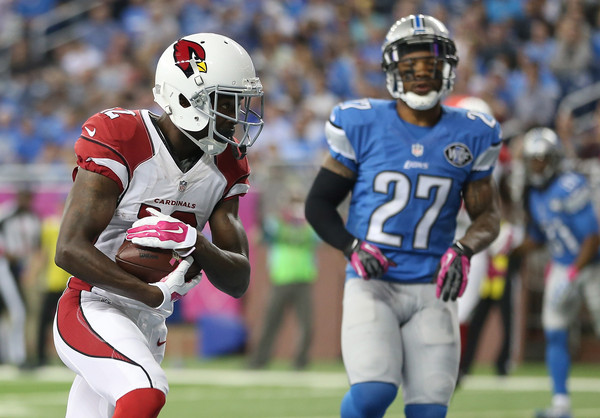 John Brown (12) scores a touchdown against the Detroit Lions. |Source: Leon Halip/Getty Images North America|