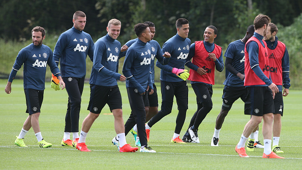 James Wilson (3rd left) was back in United training | Photo: Matthew Peters/Man Utd