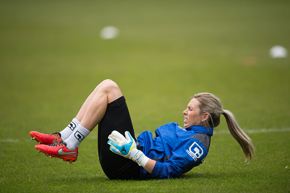 Telford is set to get back into the gym to beef out her weakened leg (credit: Jon Buckle/Getty)