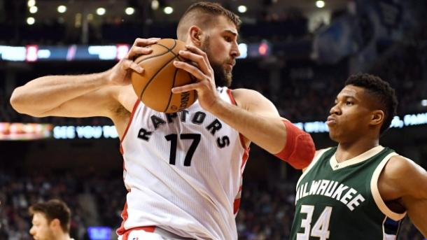 Toronto Raptors centre Jonas Valanciunas, 17, will be striving to carry the team's responsibilities on his shoulders l Photo: Frank Gunn - Canadian Press)