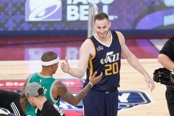Gordon Hayward meeting up with Isaiah Thomas after a game between Hayward's former team the Utah Jazz and his new team the Boston Celtics. (Photo Credit: Jonathan Bachman of Getty Images)