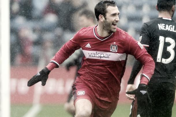 Jonathan Campbell celebrating his first career goal vs D.C. United. | Photo: Sean King / Chicago Fire Confidential