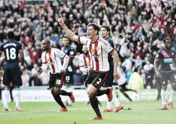 Above: Billy Jones celebrating his goal in the 3-0 win over Newcastle ahead of their second clash on Sunday photo: Sunderland Echo