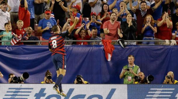 Jordan Morris celebrates his goal against Martinique. | Source: SI.com