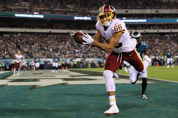 Jordan Reed #86 of the Washington Redskins scores a touchdown that is called back during the second quarter of the game against the Philadelphia Eagles. |Source: Elsa/Getty Images North America|