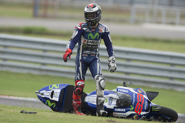 Jorge Lorenzo crashes out | Photo: Mirco Lazzari gp
