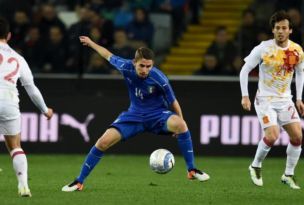 Jorginho intercepts the ball during his brief cameo | photo: gazzettaworld.gazzetta.it