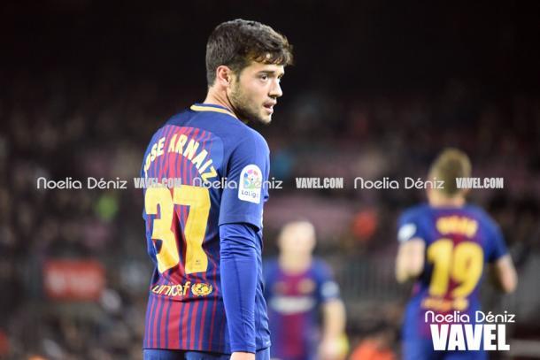 José Arnaiz en su primer encuentro en el Camp Nou. Foto: Noelia Déniz, VAVEL