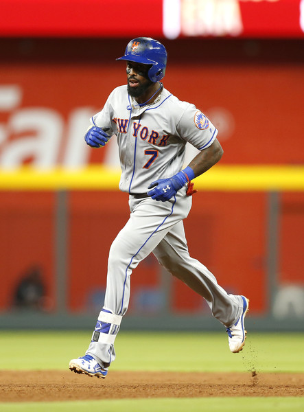 Jose Reyes rounds the bases after hitting a solo home run in the eighth inning of the Mets win in Atlanta/Photo: Mike Zarrilli