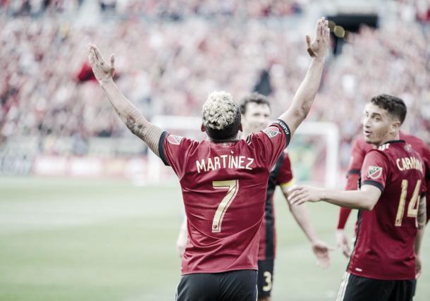 Josef celebra uno de sus tantos. Foto: Atlanta United