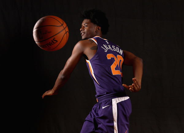 Josh Jackson of the Phoenix Suns poses for a portrait during the 2017 NBA Rookie Photo Shoot at MSG Training Center.|Source: Elsa/Getty Images North America|