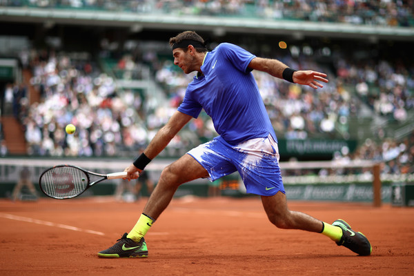 Juan Martin del Potro reaches for a backhand at the French Open, against Andy Murray in the third-round | Photo: Julian Finney/Getty Images Europe