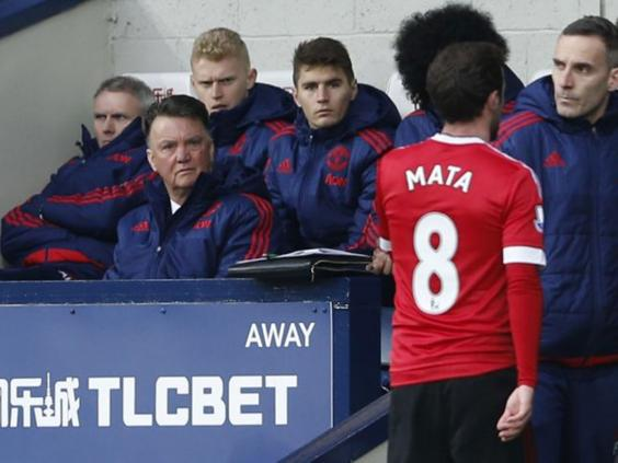 Van Gaal looks displeased with Juan Mata after his red card versus West Brom | Photo: Getty Images