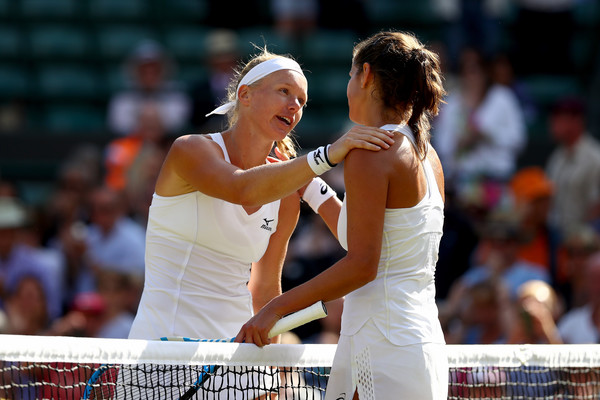 Bertens and Goerges share a nice hug at the net after the match   Photo: Matthew Stockman/Getty Images Europe