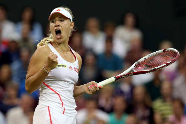 Kerber celebrates a point during her tight win over Sabine Lisicki at Wimbledon in 2012 (Getty/Julian Finney)