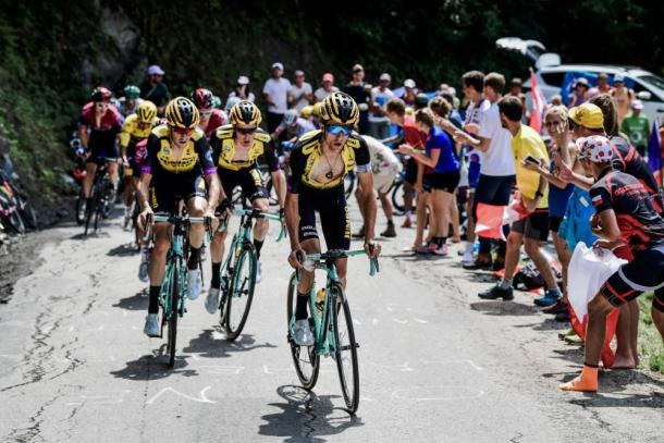 El conjunto Jumbo-Visma, protagonista del Tour 2019. | Foto: LeTour