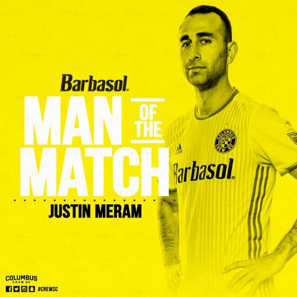 Justin Meram was voted Man Of The Match, after he recorded a goal, and two assists in the 3-2 win over New York City FC