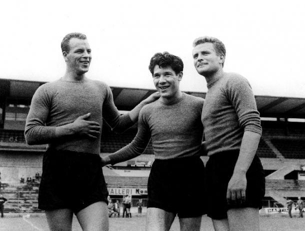 Il Trio Magico composto da John Charles, Omar Sivori e Giampiero Boniperti fu il motivo delle fortune della Juve tra il 1957 e il 1961. Foto: Wikipedia