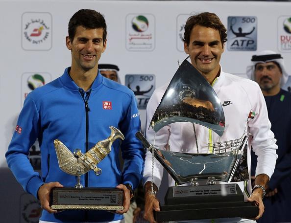 Federer defeated Novak Djokovic to win the Dubai Tennis Championship in 2015. Credit: Karim Sahib/Getty Images