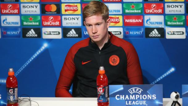 Kevin De Bruyne, attaccante del City in conferenza stampa - Foto Uefa Champions League.
