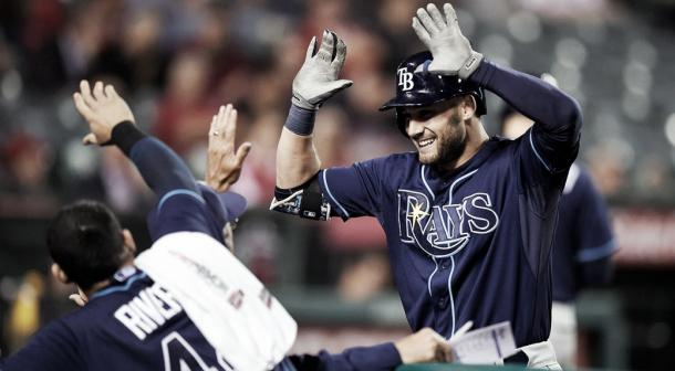 Kiermier celebrates after launching a home run against the Los Angeles Angels. (Mark J. Terrill/AP)