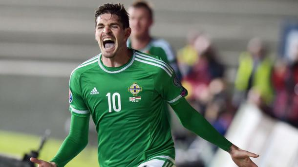Lafferty celebrates scoring the vital equaliser against Hungary. | Image source: Sky Sports