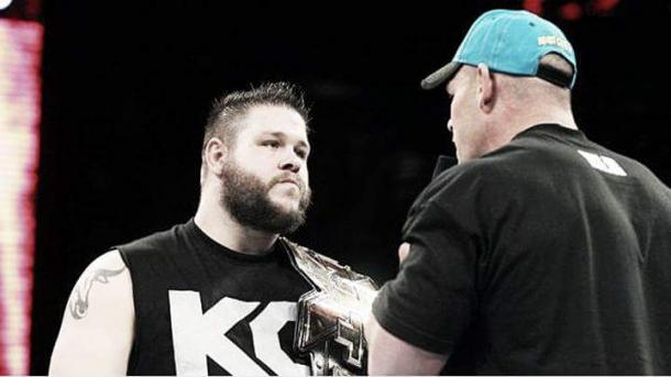 Kevin Owen and John Cena when Owen first started to appear on the main roster | wwe.com