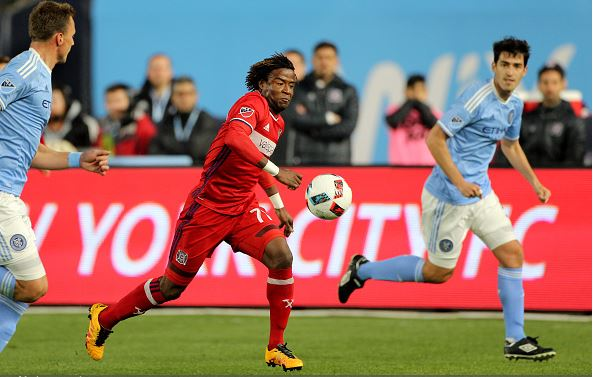 Kennedy Igboananike, Chicago Fire, in action during the New York City FC Vs Chicago Fire MLS regular season match at Yankee Stadium on April 10, 2016 in New York City | Tim Clayton - Corbis via Getty Images