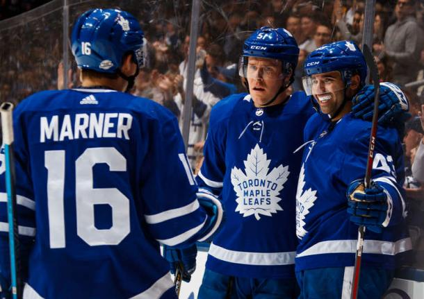 The Leafs celebrate Nazem Kadri's (right) third period goal. Photo: Mark Blinch/NHL via Getty Images