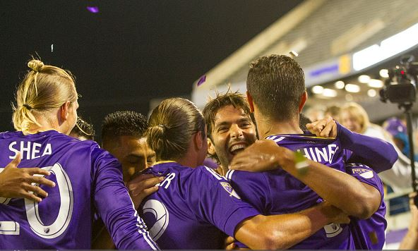 Members of Orlando City SC celebrate the first goal during a game against the Portland Timbers at the Citrus Bowl on April 3, 2016 in Orlando, Florida. (Photo by Chris McEniry/Getty Images