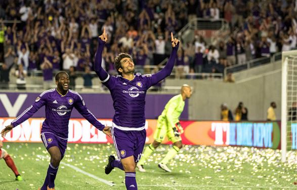 Kaka #10 of Orlando City SC celebrates a goal in the second half during a game against the Portland Timbers at the Citrus Bowl on April 3, 2016 in Orlando, Florida. (Photo by Zachary Scheffer/Getty Images)