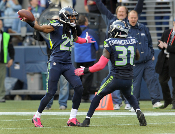 Richard Sherman and Kam Chancellor |Oct. 12, 2013 - Source: Steve Dykes/Getty Images North America|