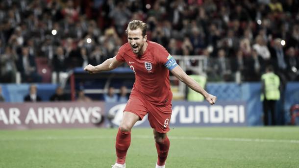 kane celebra su sexto gol en esta Copa del Mundo. Foto: FIFA.com.