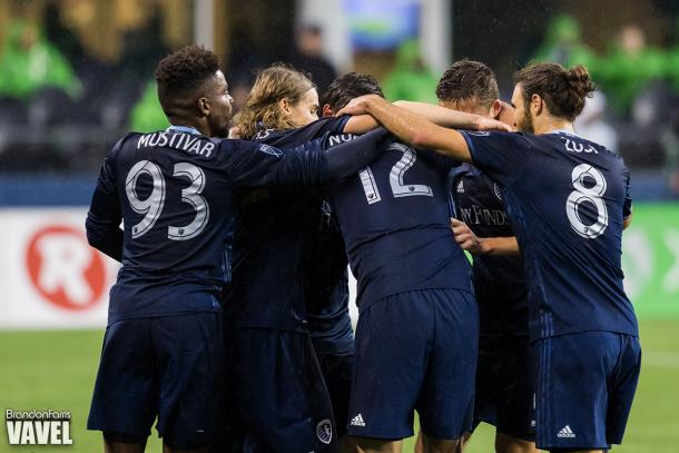 Nuno Andre Coelho (12) celebrates with his team after scoring the game-winning goal in the season opener against the Seattle Sounders | Source: Brandon Farris - VAVEL USA