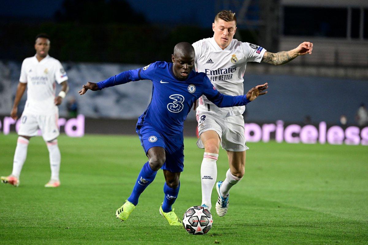 N'Golo Kanté en acción contra el Real Madrid. FUENTE: UEFA