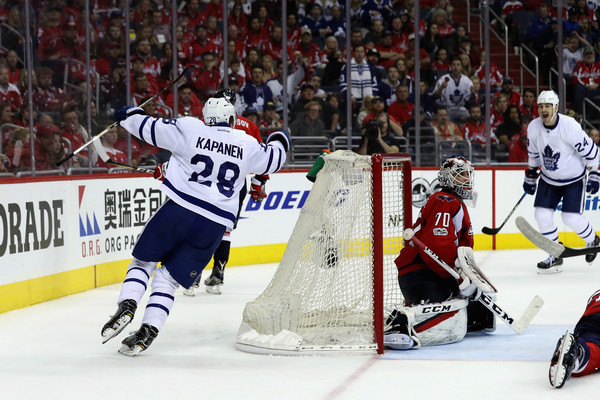 Kapanen celebrates the overtime winner. Photo: Rob Carr/Getty Images