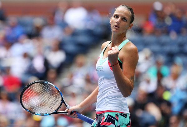 Karolina Pliskova celebrates winning a point during her third-round win over Zhang Shuai | Photo: Richard Heathcote/Getty Images North America