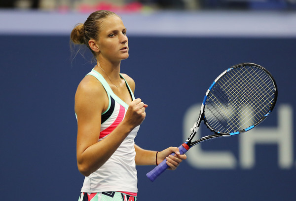 Karolina Pliskova celebrates winning a point at the US Open, where she reached the quarterfinals | Photo: Elsa/Getty Images North America