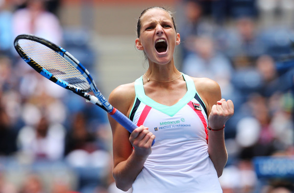 Karolina Pliskova celebrates the impressive 3-6, 7-5, 6-4 win over Zhang Shuai | Photo: Richard Heathcote/Getty Images North America
