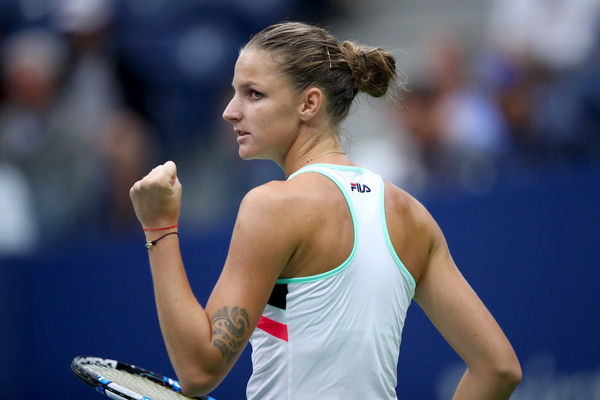 Karolina Pliskova celebrates winning a point at the US Open, but that wasn't enough as the Czech soon lost her number one ranking | Photo: Clive Brunskill/Getty Images North America