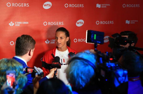 Karolina Pliskova speaks to the media before the tournament | Photo: Vaughn Ridley/Getty Images North America
