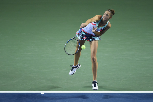 Karolina Pliskova serves during the encounter, but her second serves were too unreliable during the match | Photo: Matt Roberts/Getty Images AsiaPac