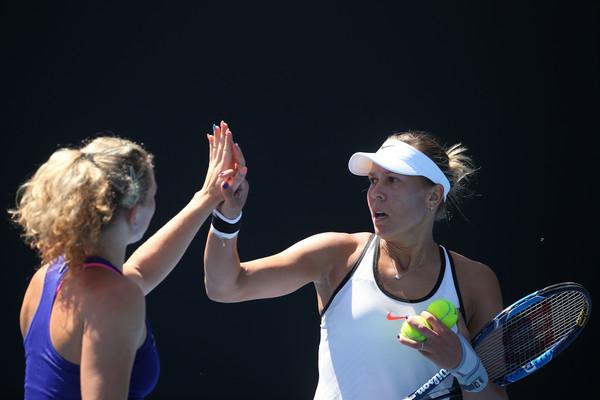 Hradecka and Siniakova celebrates winning a point | Photo: Pat Scala/Getty Images AsiaPac